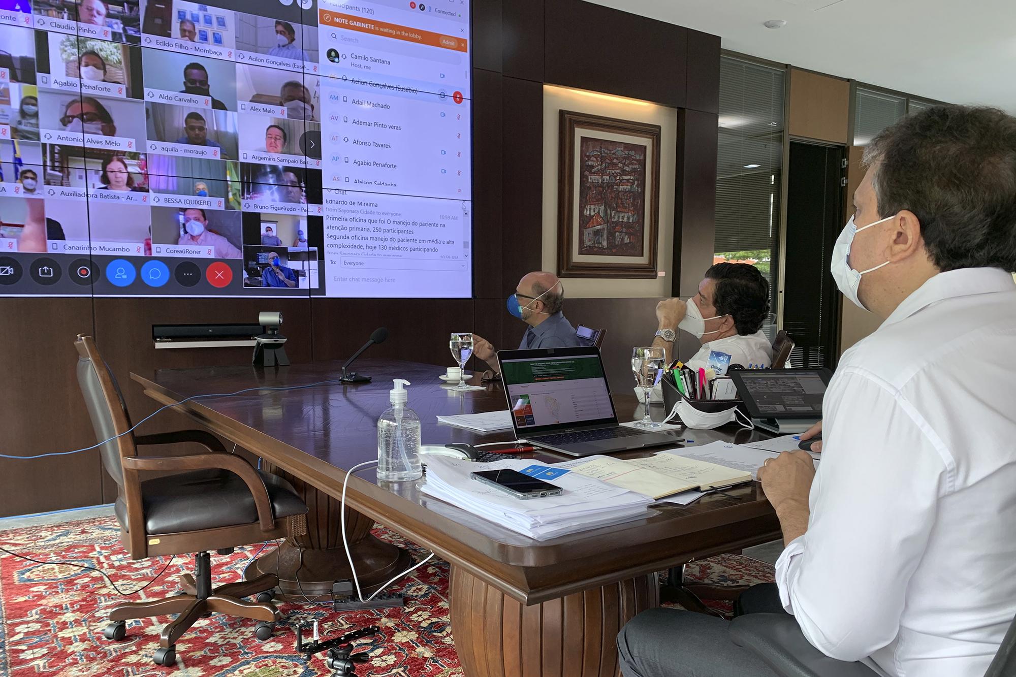 ESP/CE participa de reunião do Governo do Estado com prefeitos para reforçar a importância da atenção primária no combate ao coronavírus