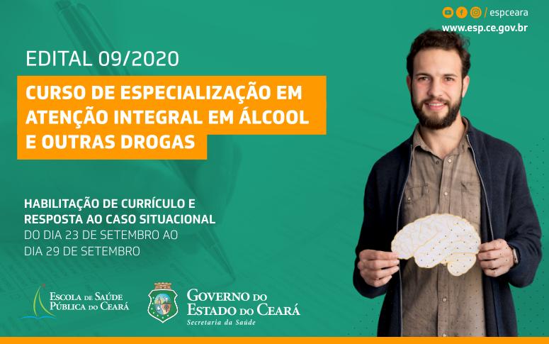 Etapa única da seleção para Curso de especialização em Atenção Integral em Álcool e outras Drogas segue até 29/09
