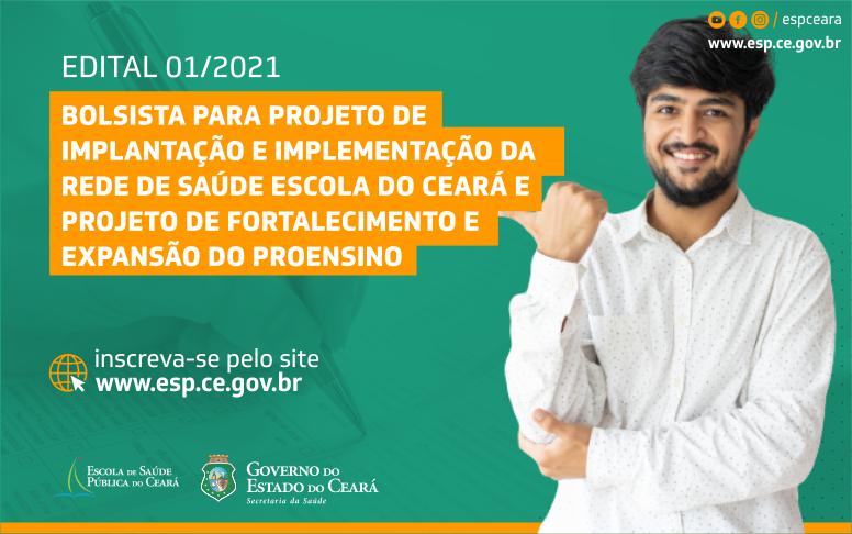 ESP/CE abre seleção para bolsistas da Rede de Saúde Escola do Ceará e Proensino